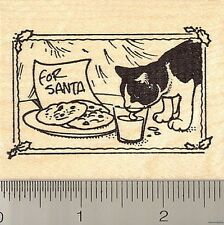Black and White Cat Christmas Rubber Stamp J10203 WM