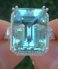 14K White Gold 25.0 Ct Bridal Emerald Cut Aquamarine Wedding Cocktail Ring