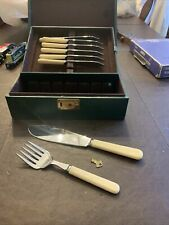 New listing Vintage Pacific Knifes Fork Salad Spoon With Case And Key