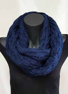 Patterned Knitted Snood Loop scarf, Navy blue, Warm cosy winte, Fashion Infinity