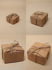 PACK OF NATURAL BROWN GIFT BOXES WITH STRING TIE, JEWELLERY, FAVOUR, SWEETS