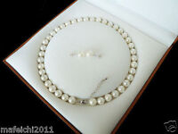 special offer!8mm White Akoya Shell Pearl Necklace Earring Set 18'' AAA