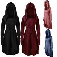 Medieval Renaissance Gothic Fashion Women Long Sleeve Tunic Tops Hoodie Dress