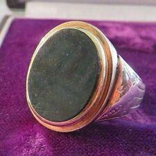 Schöner 333 8 K Gold Ring Groß Massiv Blutjaspis Heliotrop Unisex Siegelring