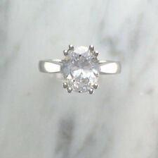 2.50 Ct Oval Cut Bridal Diamond Engagement Ring 18K Real White Gold Rings Size J