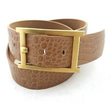 TALBOTS Women's Tan Reptile Embossed Leather Belt w Gold Buckle - Size S