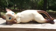 "New listing Vintage Ceramic Blue-eyed Siamese Cat 10"" Wall Tree Climber Figurine Japan Nr"