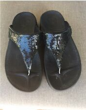 FITFLOP Electra Black Sequin Flip Flop Sandals Womens Size 5