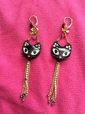 Betsey Johnson vintage black cat face black rose earrings with gold chains