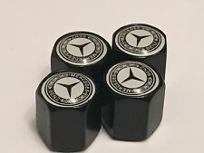 4 x BLACK Tyre Valve Dust Caps black (Fits Mercedes Benz) Set of 4 Alloy Wheel