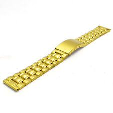 Folding Deployment Watch Bracelet Stainless Steel Mens Gold Plated 20mm BL05