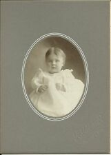 OLD ANTIQUE CABINET CARD PHOTO OF BABY GIRL BY R.C. URIEL HURLEY WISCONSIN