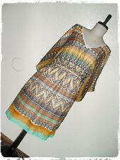 Speed Control Bohemian Boho Multi Colored Ikat Chevron Poncho Kimono Dress 3X