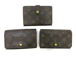 Authentic 3 Item Set LOUIS VUITTON Monogram Wallet PVC Leather 94679