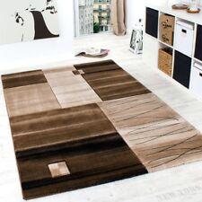 Edler Designer Teppich Geometrisch mit Konturenschnitt in Braun Beige Creme