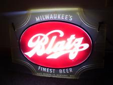 VTG 1940'S BLATZ BEER DOUBLE SIDED TAVERN BAR WINDOW SIGN LIGHT CLEAN!!!