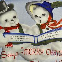Vintage Early Mid Century Christmas Greeting Card Snowman Snow Couple Carols