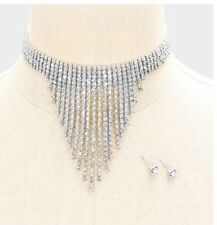 Clear Silver Choker Crystal Rhinestone Bridal  Necklace Jewelry Set Earring
