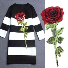 32CM Large Clothing's Sequin Rose Applique Patch DIY Garment Embroidery Craft ✿