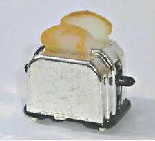 Tostapane argento con TOAST per una casa di bambole cucina colazione scena in miniatura
