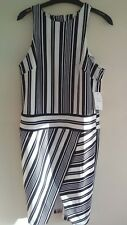ASOS Black and White Striped Dress size 10 BNWT