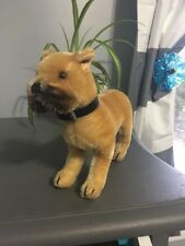 Vintage Steiff Mohair Boxer Dog With Black Collar And Ear Tag.