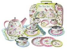 Children's Bird Tin Tea Set w/ Suitcase | 15pcs | Pretend Role Play | Kaper Kidz
