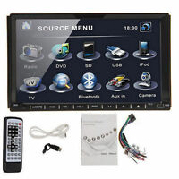 """7"""" Double Din Touch Screen In-Dash Car DVD USB SD Stereo Player Bluetooth"""