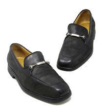 6f0896275e2 A. Testoni Black Leather Moc Toe Logo Stylized Horsebit Loafer Dress