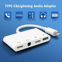Multi Function Lightning Adapter to 3.5mm Headphone & Type C & Lighting Charger