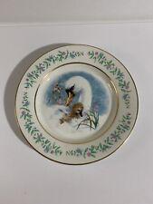 """Vintage 1975 Avon """"Gentle Moments"""" Swans Porcelain & Gold Trim ~9"""" Plate"""