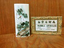 Vintage Marble Articles Painted Marble Slab Crane Asian Art  Made in Jiangsu
