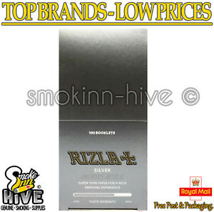 Rizla Silver Regular Standard Cigarette Rolling Papers Genuine - 100 Booklets