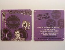 Marston's Brewery What's With The 3 Barrels? Beermat Coaster 1a