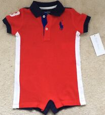 New Baby Boys Ralph Lauren Body Suit/Romper 24 Months - Champion Red