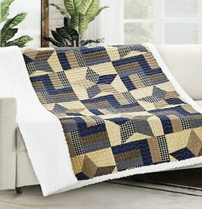 WOODLAND STAR 50x60 SHERPA THROW : BROWN PLAID COUNTRY QUILT CABIN BLANKET