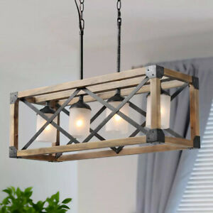 LNC Farmhouse 4-Light Solid Wood Dining Room Chandelier w/ Frosted Glass Shades