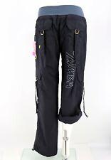 Zumba NWT Cargo Pants Size Small Black Blue Convertible Capri Hip Hop Gym Womens