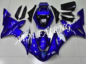 Blue White ABS Injection Mold Bodywork Fairing Kit Panels for YZF R1 2002 2003