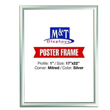 """Snap Frame, 17x22  Size 1"""", Mitred Corner, Silver, 1"""" Mitred, Front Loading"""