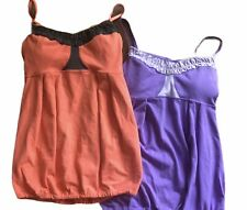 Lot of 2 LULULEMON Ruffle Tank tops Lilac & Coral /Gray size 4 Bra Straps Yoga