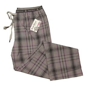 Psycho Bunny Women's Alloy Gray Plaid Knit Lounge Pants