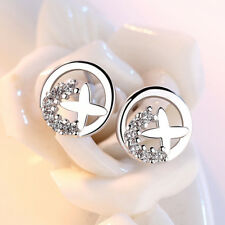 Women White Gold Plated Shine Crystal Cross Stud Earring Wedding Jewelry Gifts