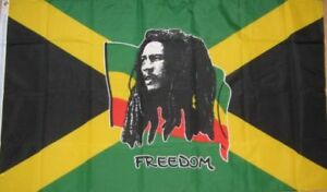 Bob Marley Jamaican Freedom Jamaica Flag Rastafarian Reggae Music 5 x 3 Feet