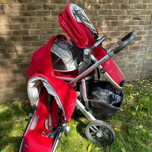 UPPAbaby Vista Double Red   3 in 1 Carrycot Rumble Seat   Used in good condition