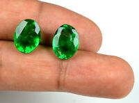 10-12 Ct Oval Ring Size Muzo Colombian Emerald Pair 100% Natural AGSL Certified