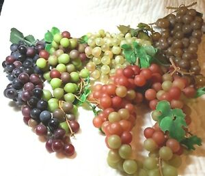 Lot of Artificial Grape Bunches Decorative Lifelike Rubber Fake Plastic 3 Pounds