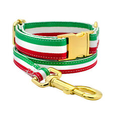 Green Red White Striped Italy Italian Flag Dog Collar Leash Adjustable Collars