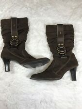 Predictions Brown Suede Tall Slouch Boots Gold Buckle Side Zip Womens Sz 8.5