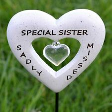 Sadly Missed Special Sister Love Heart Memorial Tribute Stick Graveside Plaque